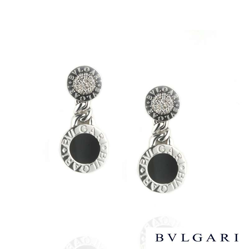 Bvlgari 18k White Gold Diamond & Onyx Earclips